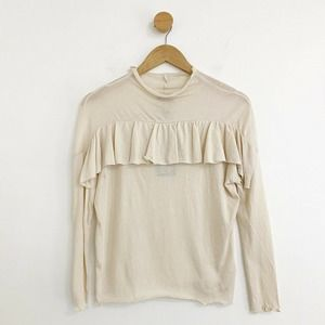 CHASER Nwt Ivory Ruffle Detail Long Sleeve Top